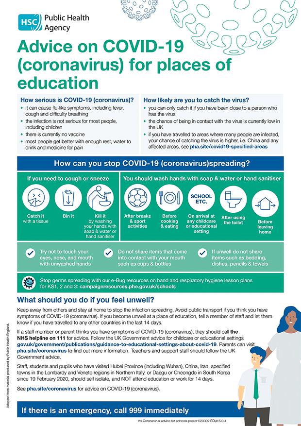 Corona Virus advice for schools