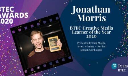 Jonathan wins prestigious creative media award at the 2020 BTEC Awards