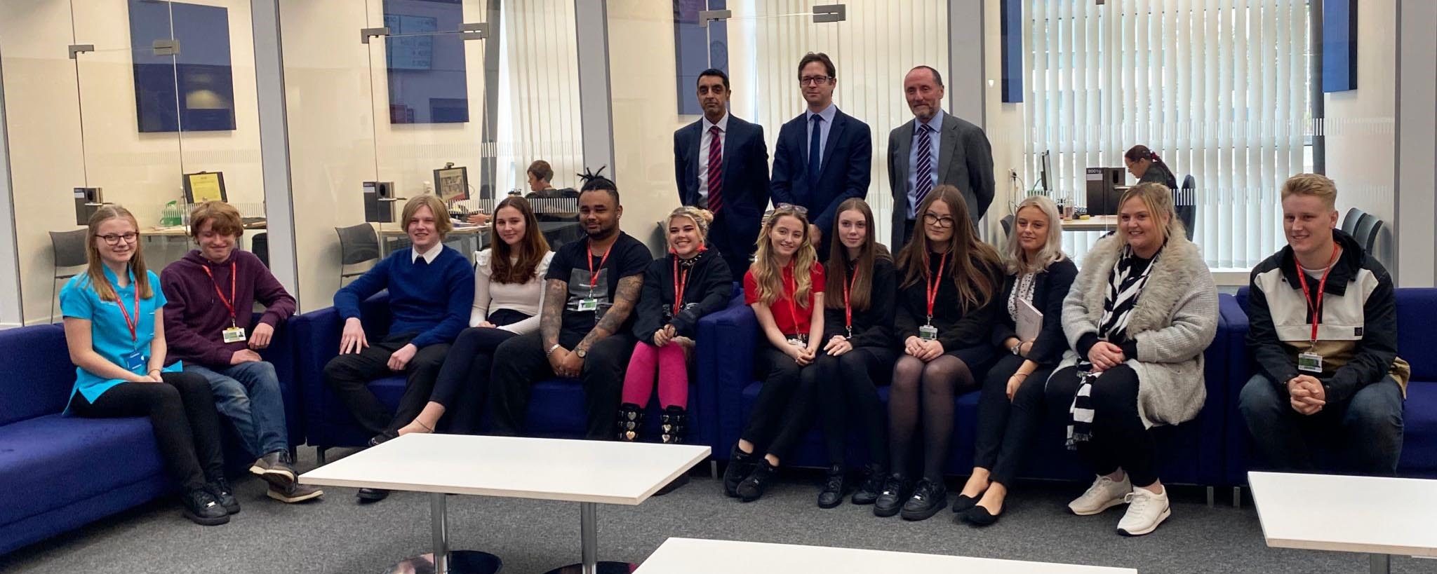 Alex Burghart skills minister with Walsall College students web